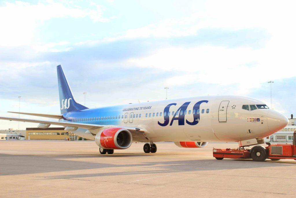 Sådan ser SAs specialmalede jubilæumsfly ud.